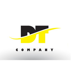 Dt d t black and yellow letter logo with swoosh vector