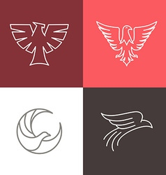 eagle and falcon linear logos vector image