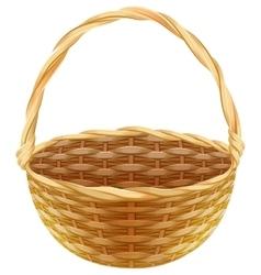 Empty wicker basket Wicker basket made of straw vector image
