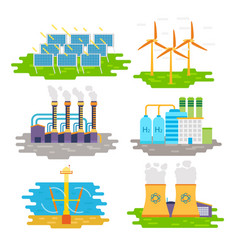 Energy producing stations infographic elements vector