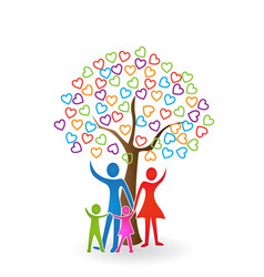 Family and heart tree icon vector