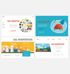 Flat mining industry websites set vector