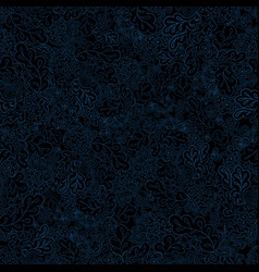 Floral seamless pattern black and blue vector
