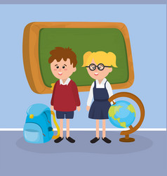 girl and boy students with blackboard and backpack vector image