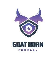 goat head shield logo design vector image