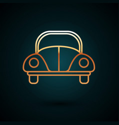 Gold line car volkswagen beetle icon isolated on vector