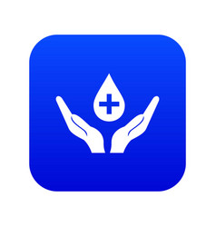 hands holding blood drop icon digital blue vector image
