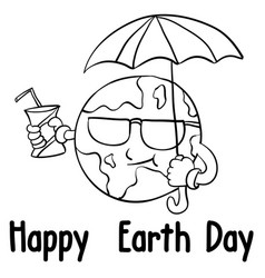 happy earth day style with umbrella vector image