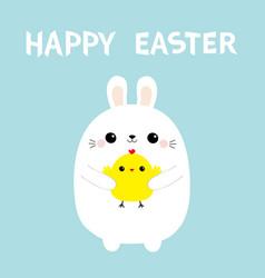 happy easter bunny rabbit holding chicken baby vector image