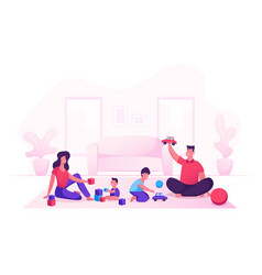Happy family with kids leisure time in evening or vector