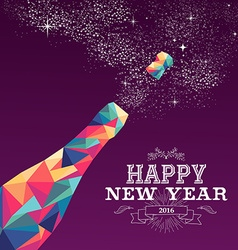 Happy new year 2016 color triangle champagne vector
