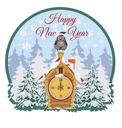 happy new year card sticker label flat vector image