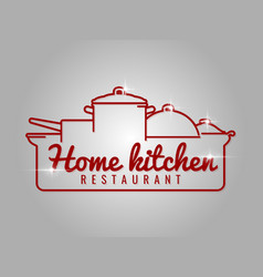 home kitchen restaurant line logo vector image