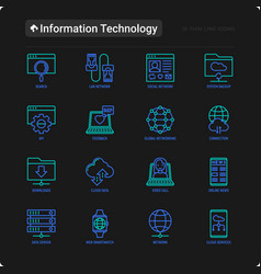 information technology thin line icons set vector image