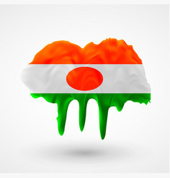 Isolated flag of niger painted colors vector