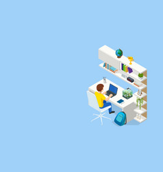 isometric contemporary workplace for a student vector image