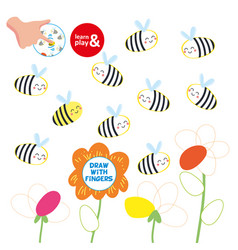 kids finger drawing paper play bee picture vector image