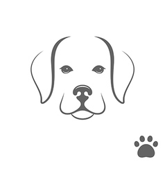 Labrador dog Puppy with paw print vector image