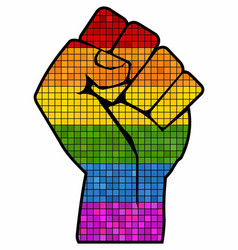 Lgbt protest fist in mosaic vector