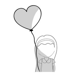 Line pretty girl with hairstyle and heart balloon vector