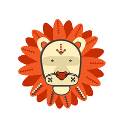 lion lion portrait in unique geometric flat style vector image