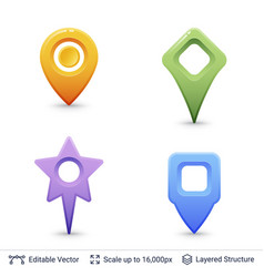 location pins set vector image