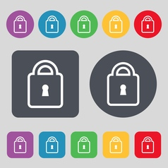 Lock icon sign A set of 12 colored buttons Flat vector image