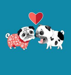 Love dogs pugs beautiful vector image