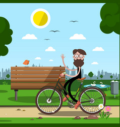 man on bicycle with bench and city park on vector image