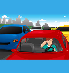 man stuck in traffic vector image