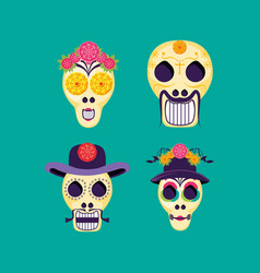 Masks of santa death with icons vector