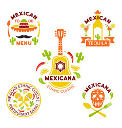 Mexican ethnic cuisine colored logos vector
