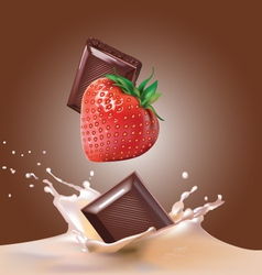 milk and chocolate strawberries vector image
