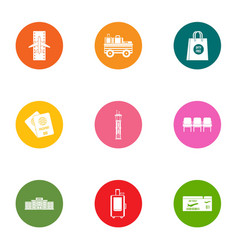 mission icons set flat style vector image