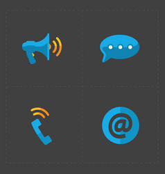 Modern colorful flat social icons set on dark back vector
