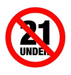 no under twenty one entry badge vector image