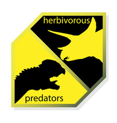 Opposition of herbivores and carnivorous dinosaurs vector