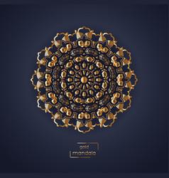 Ornamental gold flower oriental mandala on dark vector