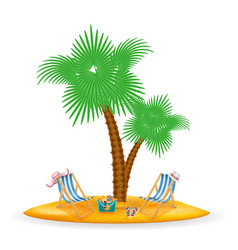 Palm tree and accessories for rest stock vector