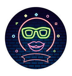 party glasses lips neon brick wall vector image