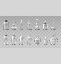 Perfume bottles realistic 3d glass containers for vector