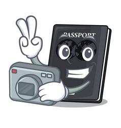 Photographer black passport on the mascot table vector