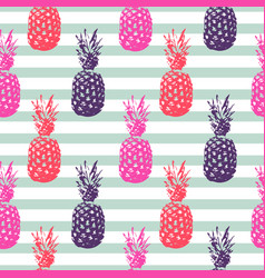 pineapple summer fruit striped seamless pattern vector image