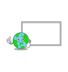 pose with board world globe character cartoon vector image
