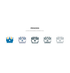 Princess icon in different style two colored and vector