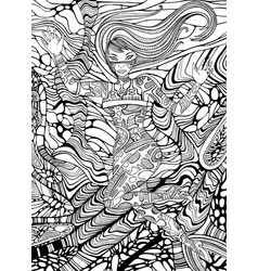 psychedelic cyberpunk girl adult coloring page vector image