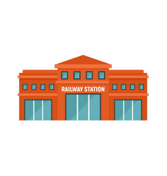 Railway station icon flat style vector