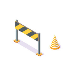 road plastic cone and stand with stripes on board vector image