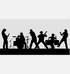 rock band silhouette on stage vector image