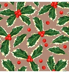 seamless holly leaves vector image